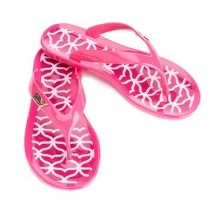 Vineyard Vines Pink Whale Tail Jelly Thong Sandals